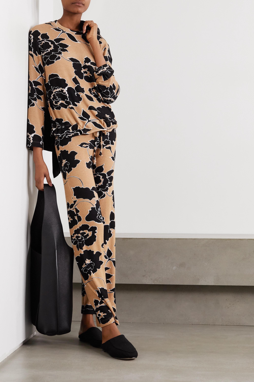 LESET Lori floral-print stretch-jersey wide-leg pants
