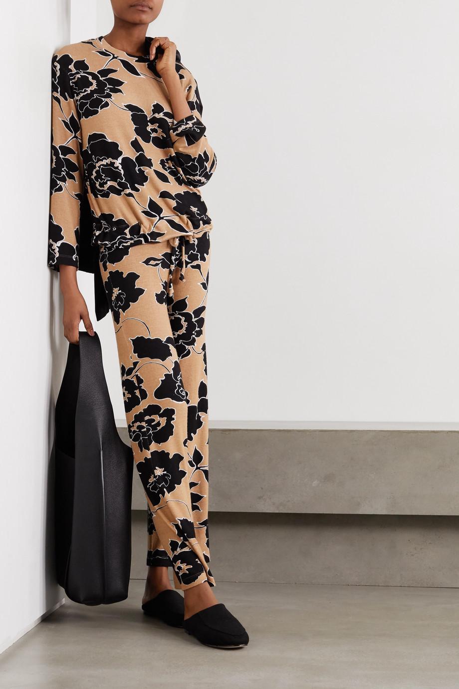 LESET Lori Hose mit weitem Bein aus Stretch-Jersey mit Blumenprint