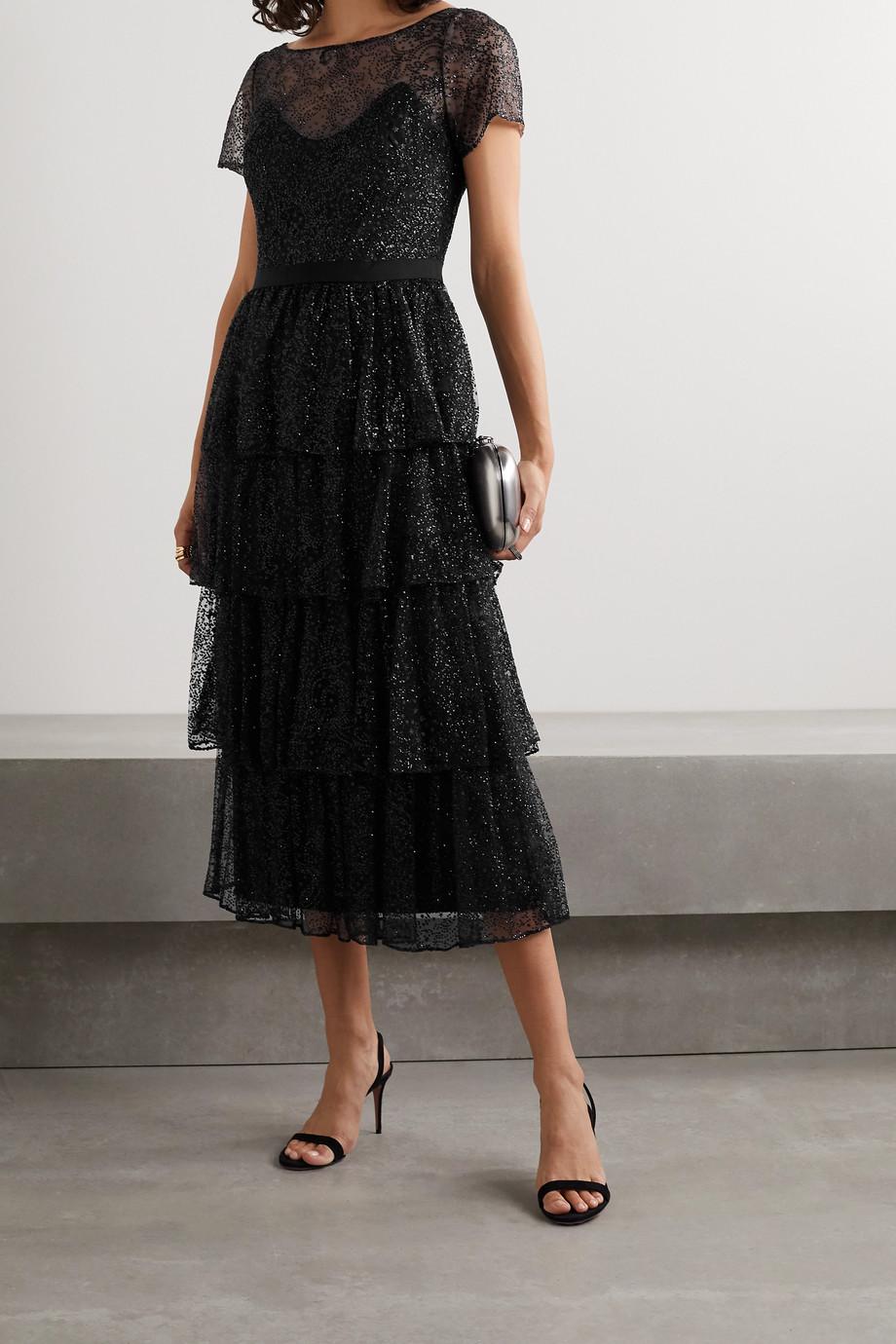 Marchesa Notte Tiered glittered tulle midi dress