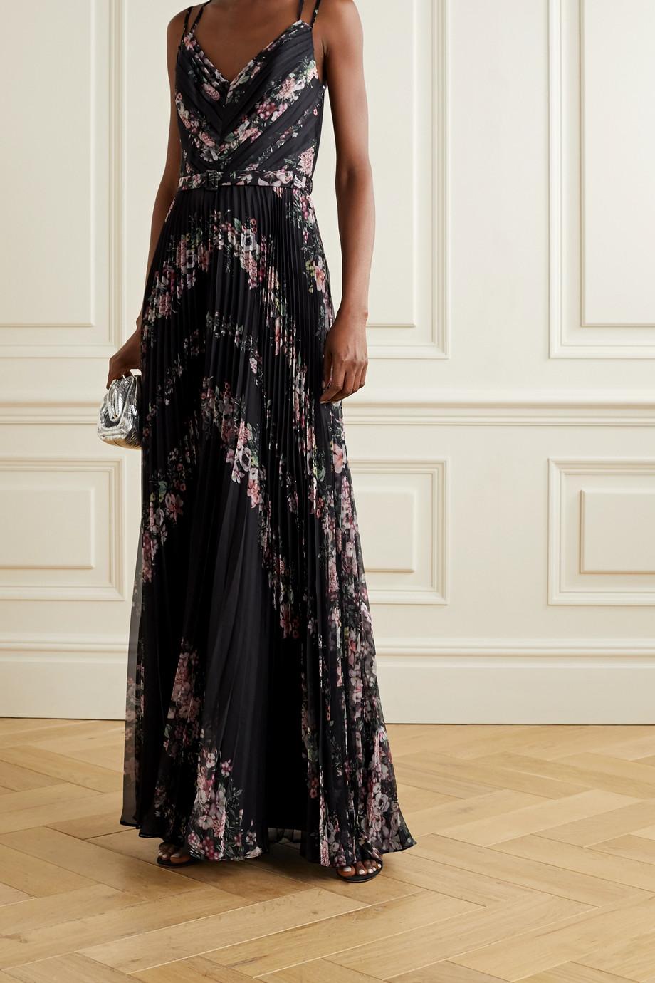 Marchesa Notte Robe aus plissiertem Chiffon mit Blumenprint und Gürtel