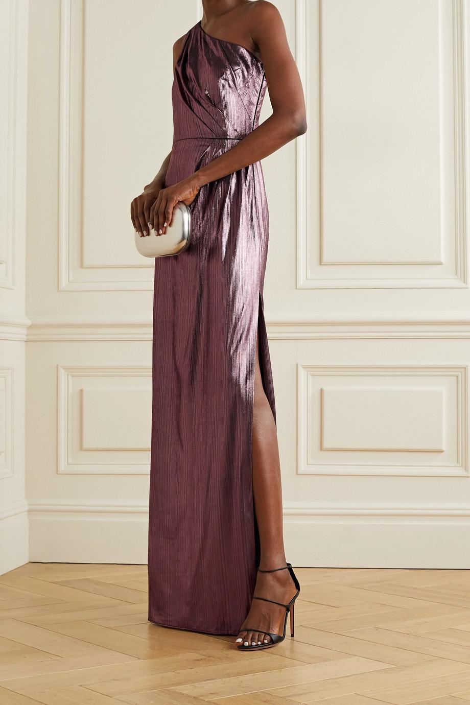 Marchesa Notte Robe aus Metallic-Lamé mit asymmetrischer Schulterpartie