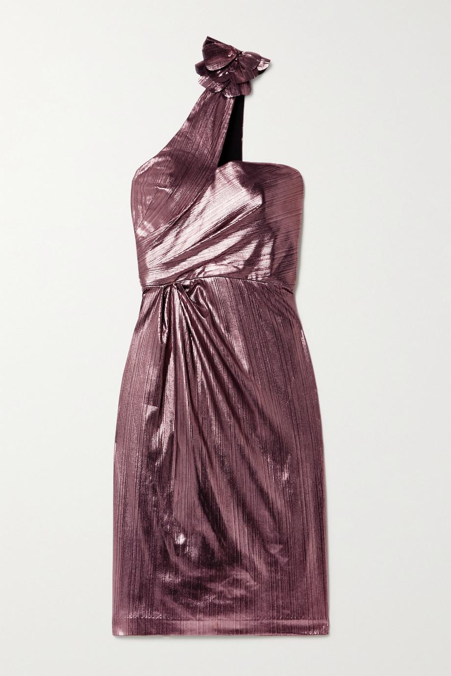 Marchesa Notte One-shoulder metallic lamé midi dress