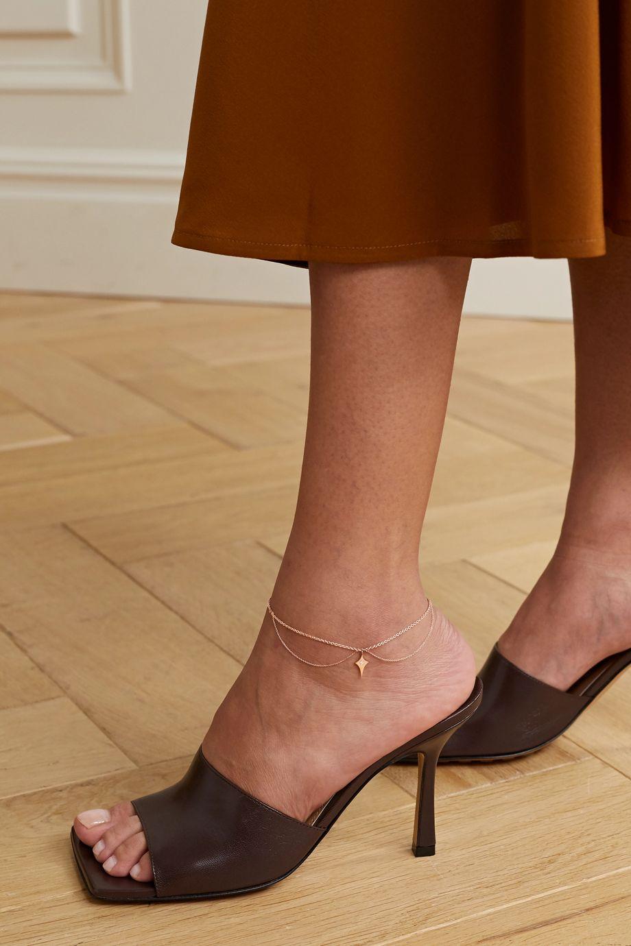 Diane Kordas Shield 14-karat rose gold diamond anklet