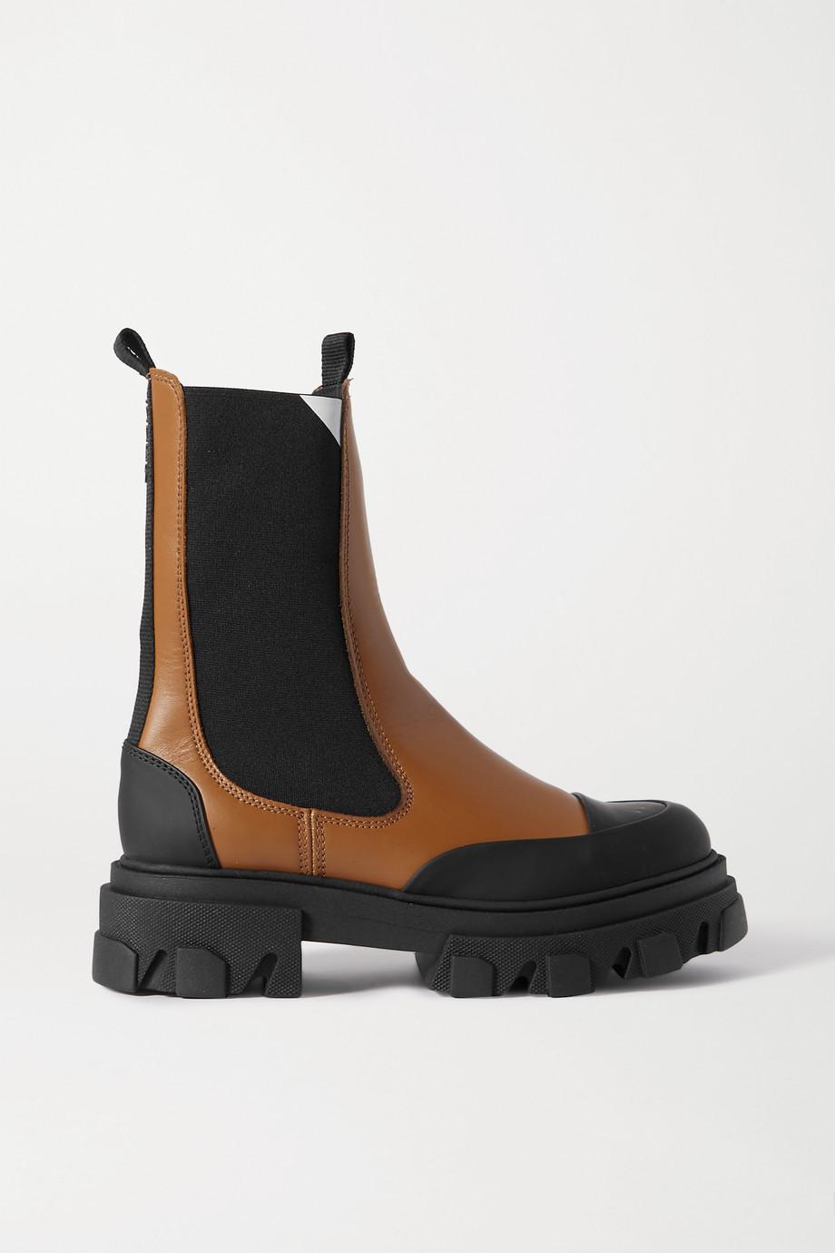 GANNI Chelsea Boots aus Leder mit Gummibesatz