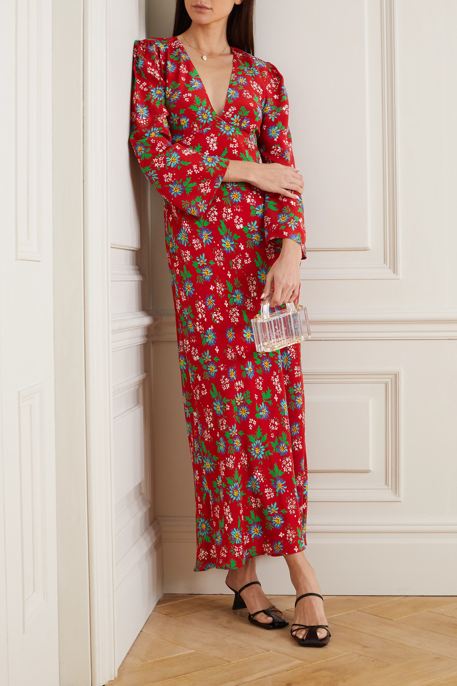RIXO Nadine open-back floral-print silk-crepe maxi dress