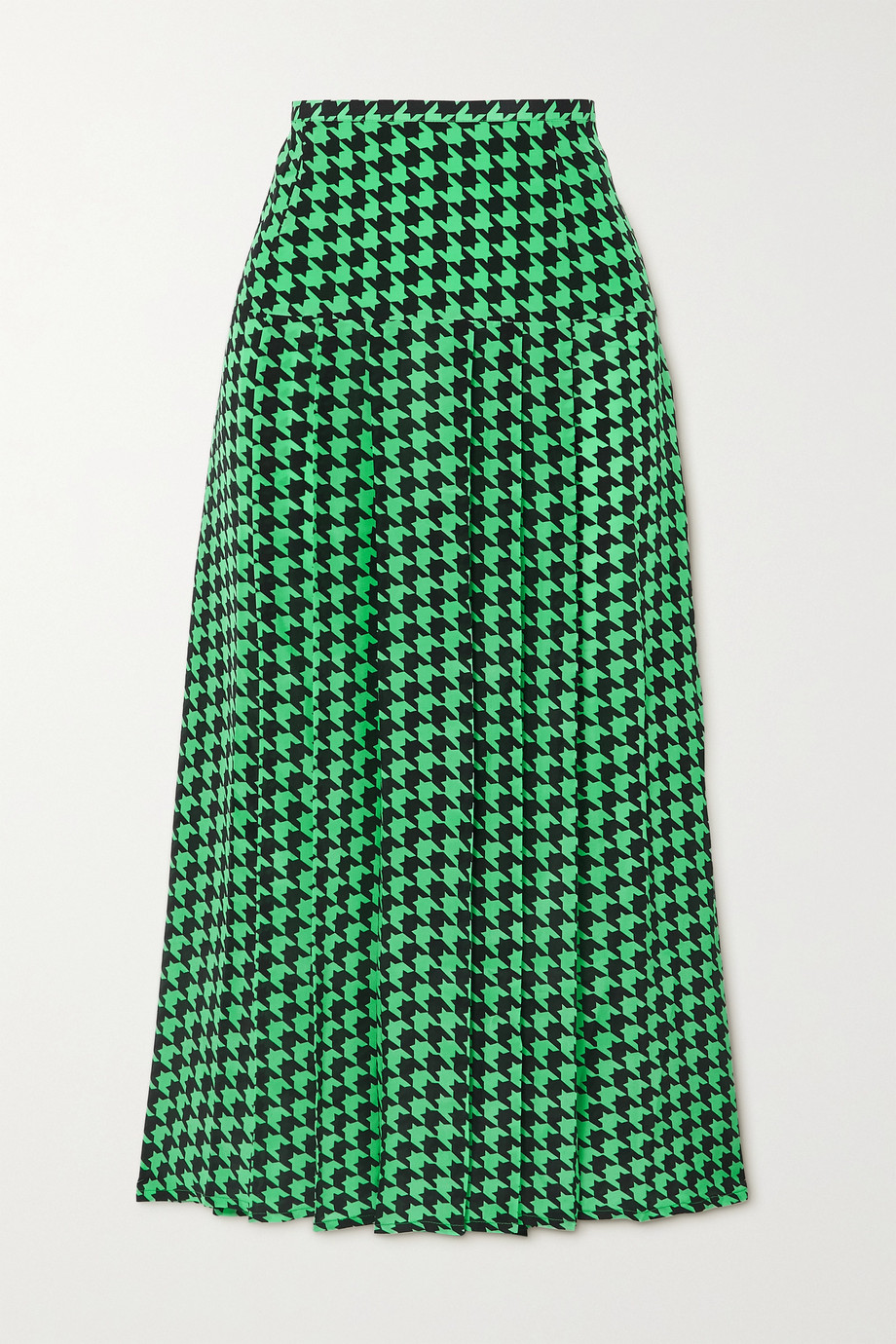 RIXO Nancy pleated houndstooth silk-crepe midi skirt