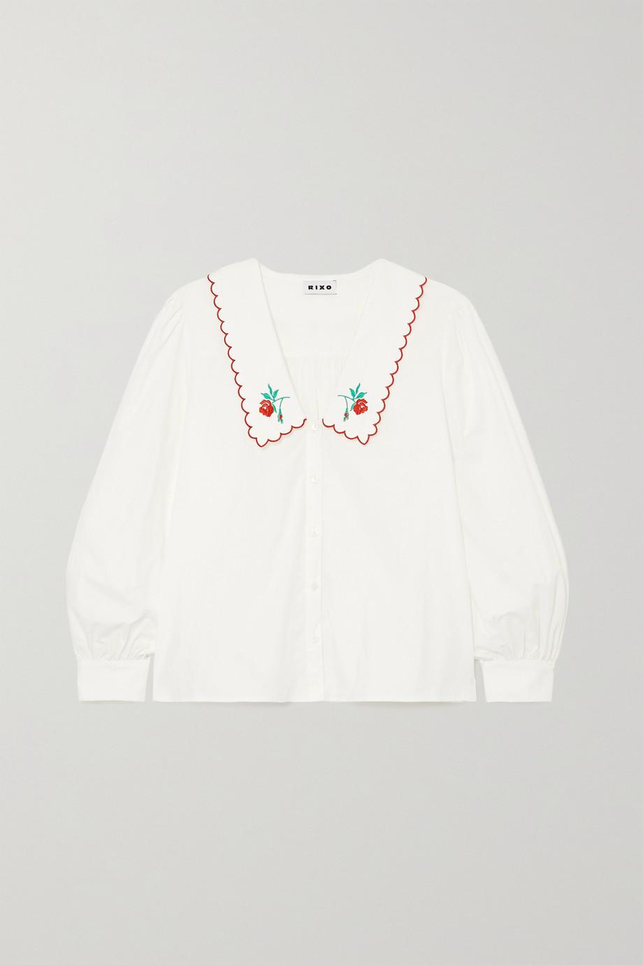 RIXO Lila embroidered cotton-poplin blouse
