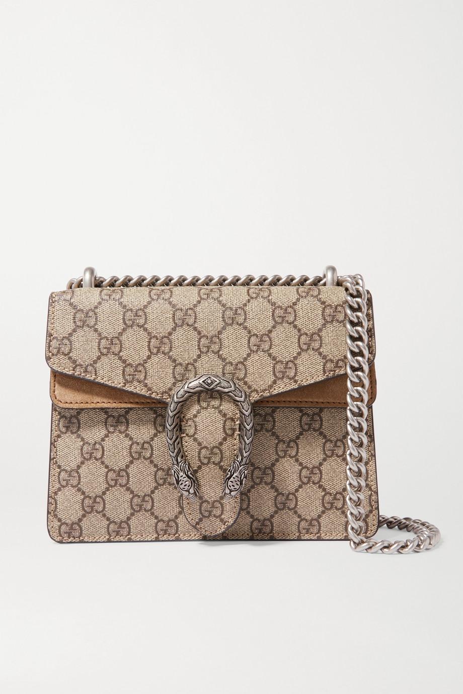 Gucci Dionysus 印花涂层帆布绒面革迷你单肩包