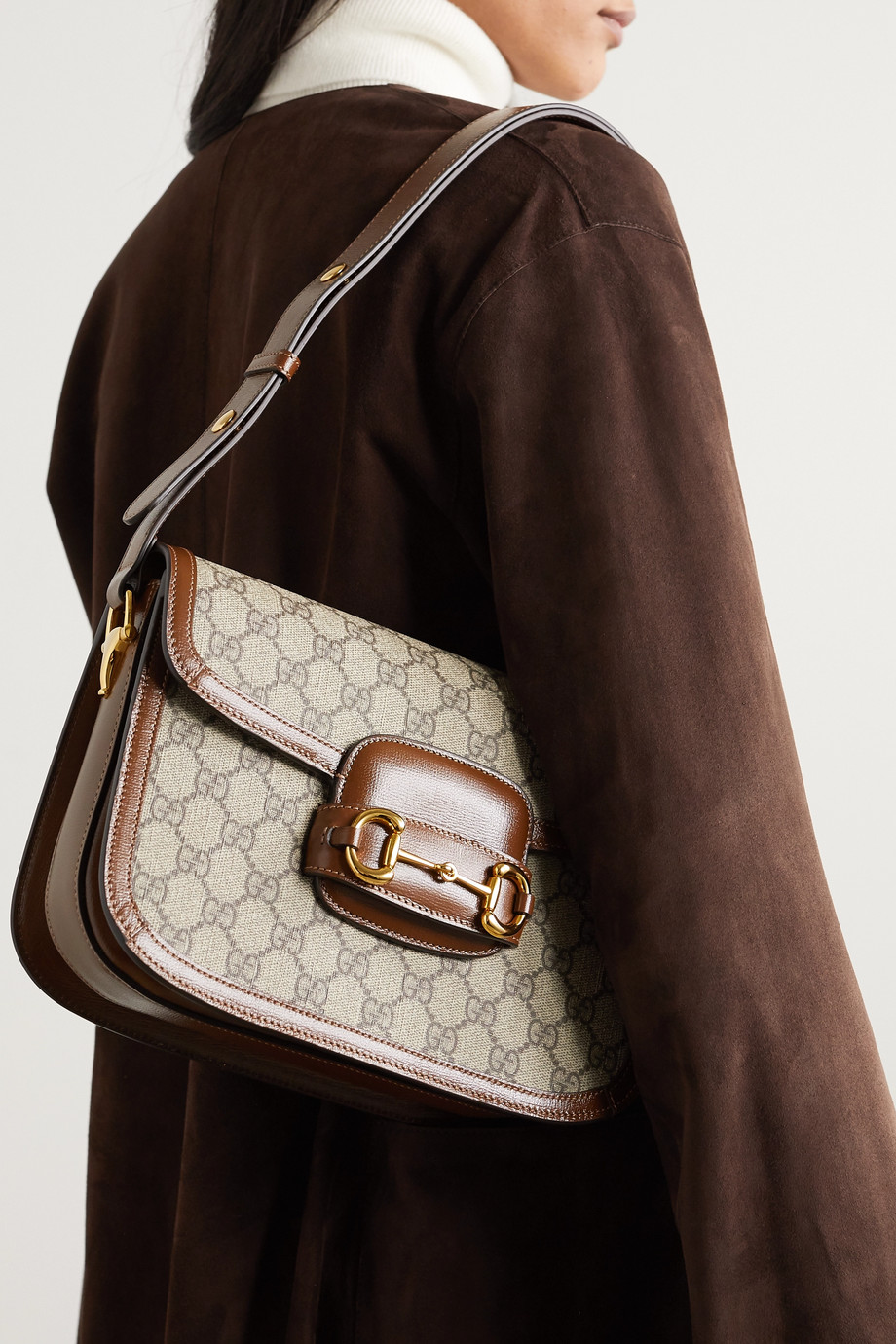 Gucci 1955 马衔扣细节皮革边饰印花涂层帆布单肩包