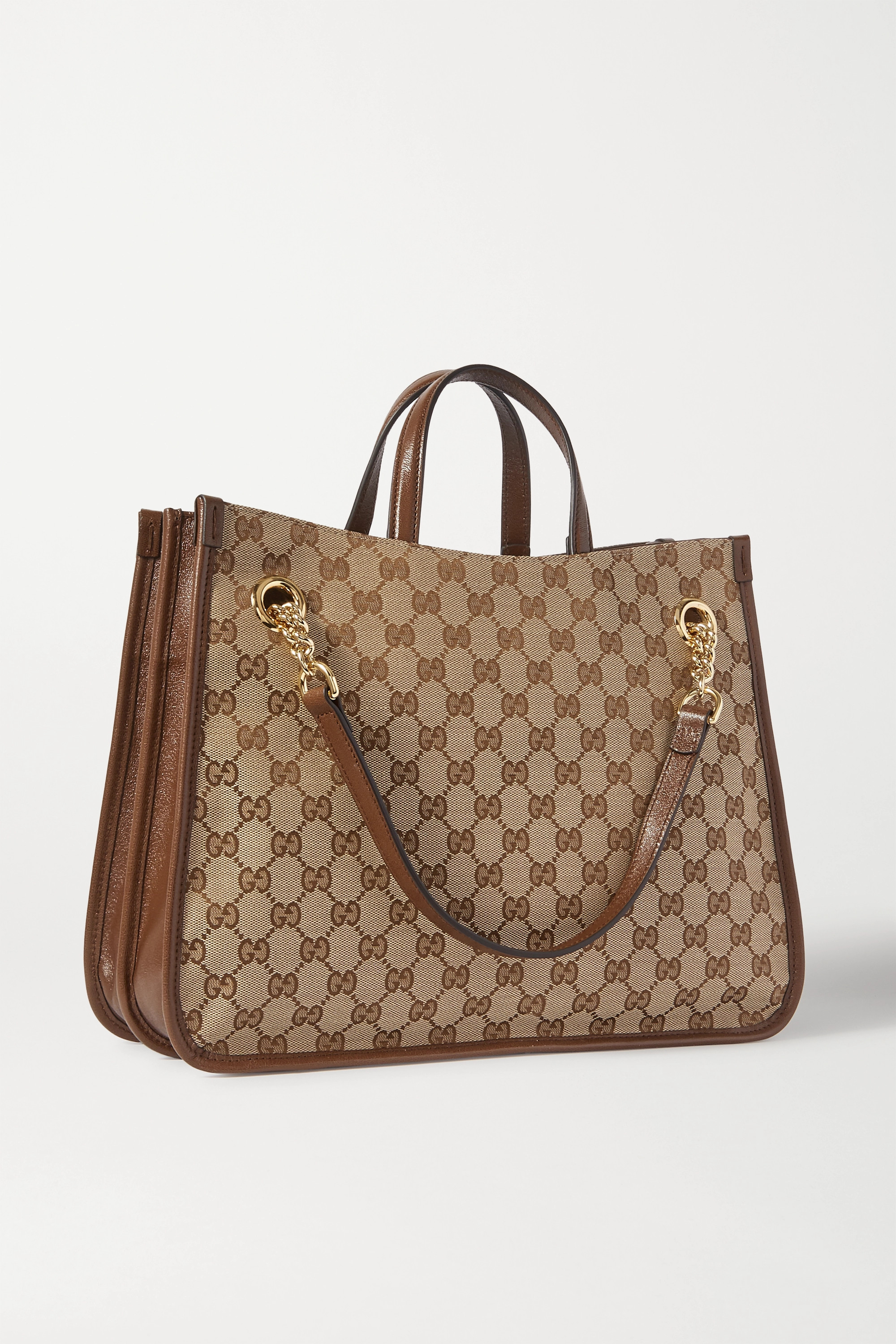Gucci 1955 Horsebit medium leather-trimmed printed coated-canvas tote