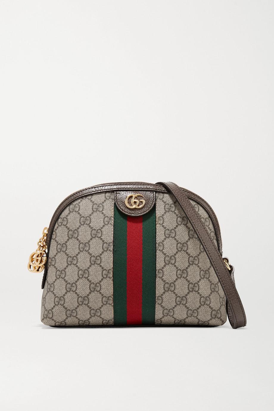 Gucci Ophidia bedruckte Schultertasche aus beschichtetem Canvas mit Besätzen aus strukturiertem Leder