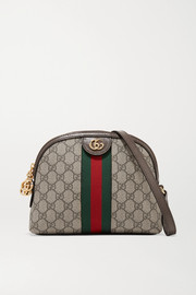 Gucci Ophidia textured leather-trimmed printed coated-canvas shoulder bag