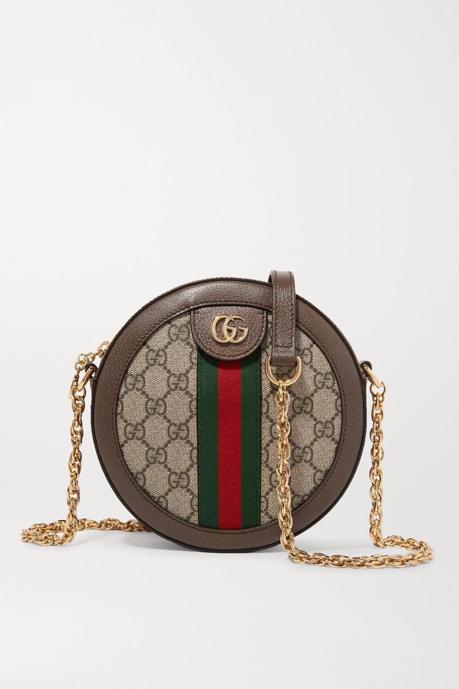 Gucci Ophidia 纹理皮革边饰印花涂层帆布迷你单肩包