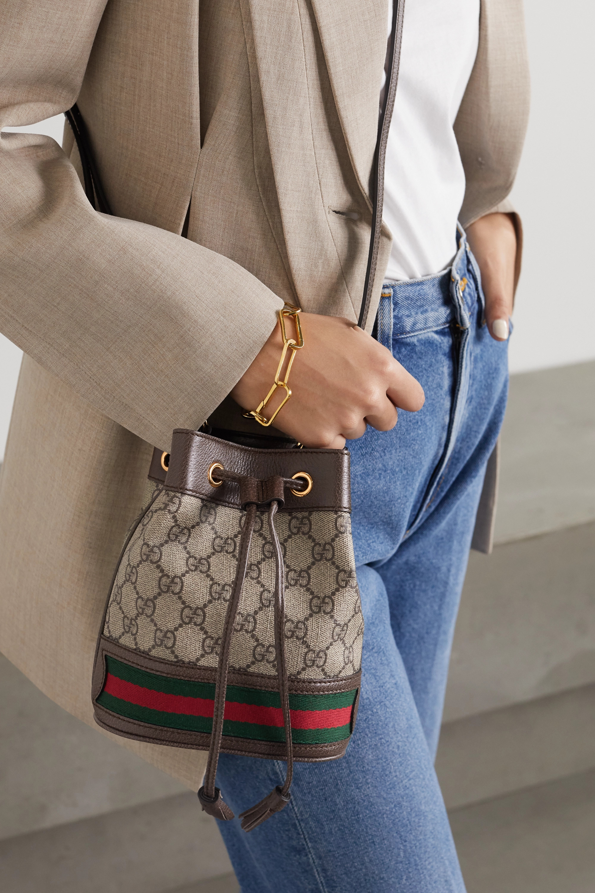 Gucci Ophidia mini textured leather-trimmed printed coated-canvas bucket bag