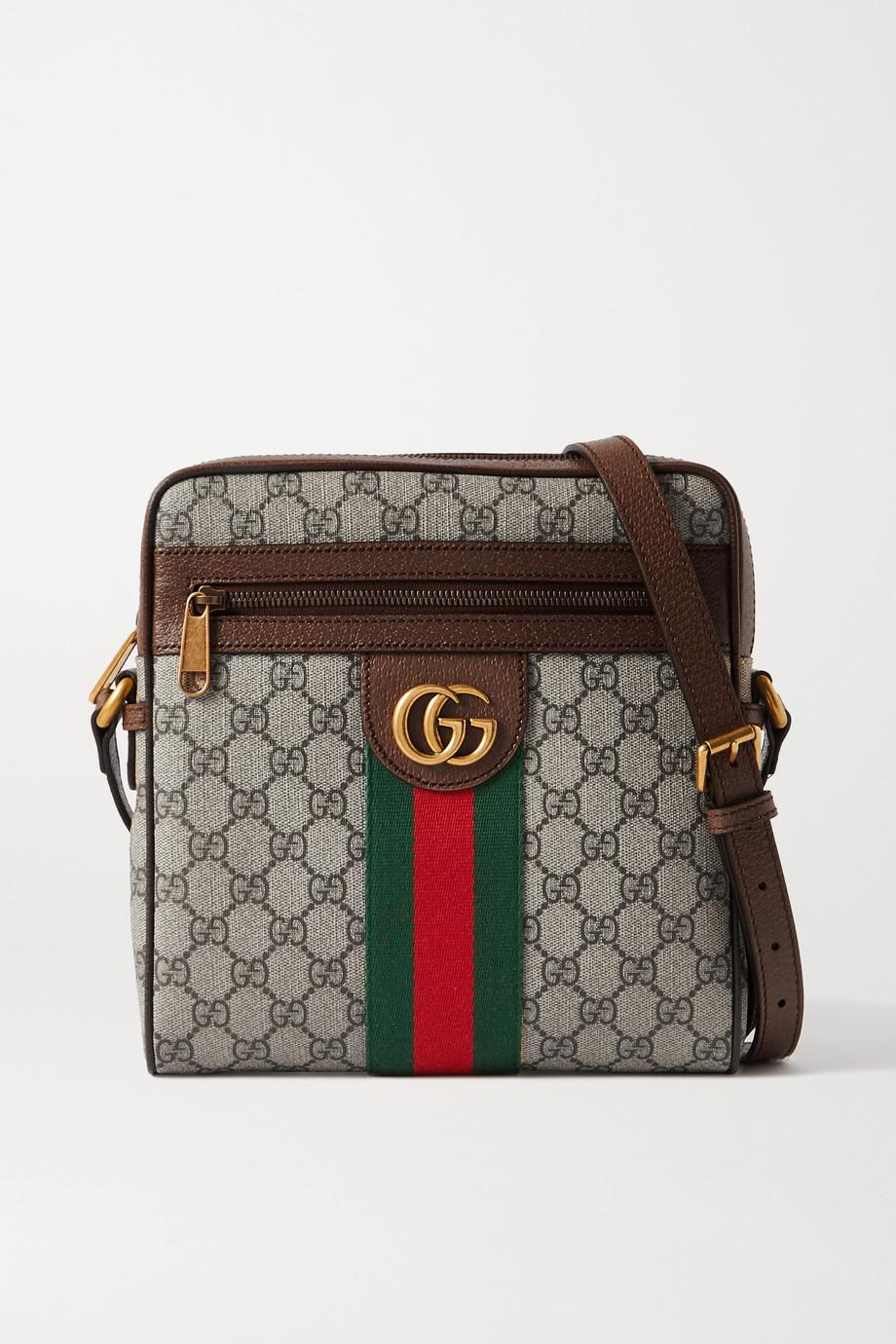 Gucci Ophidia 纹理皮革边饰印花涂层帆布小号单肩包
