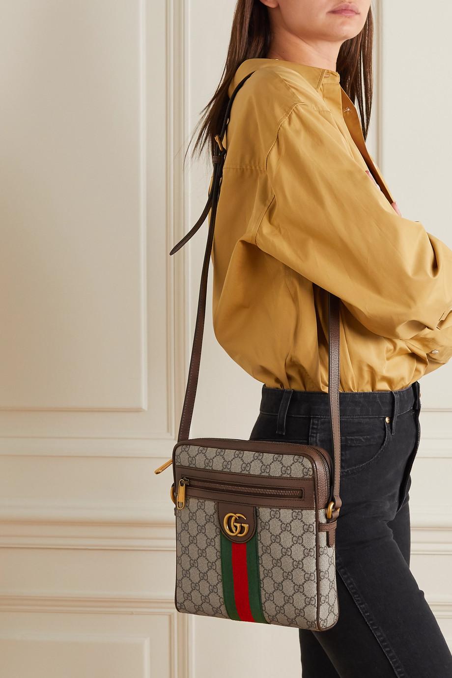 Gucci Ophidia kleine Schultertasche aus bedrucktem, beschichtetem Canvas mit Besatz aus strukturiertem Leder