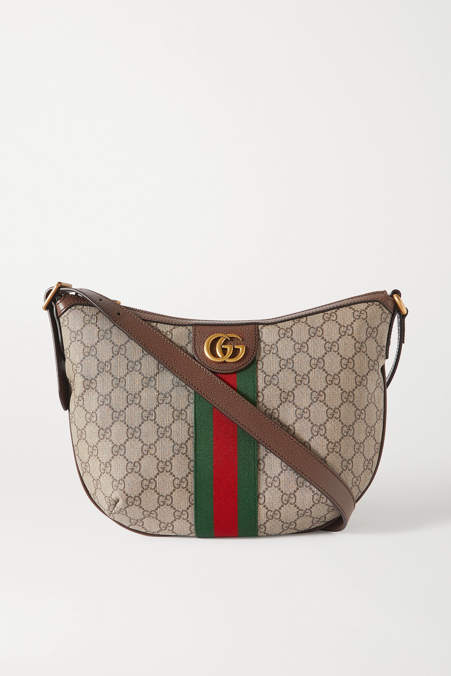 Gucci Ophidia textured-leather trimmed printed coated-canvas shoulder bag