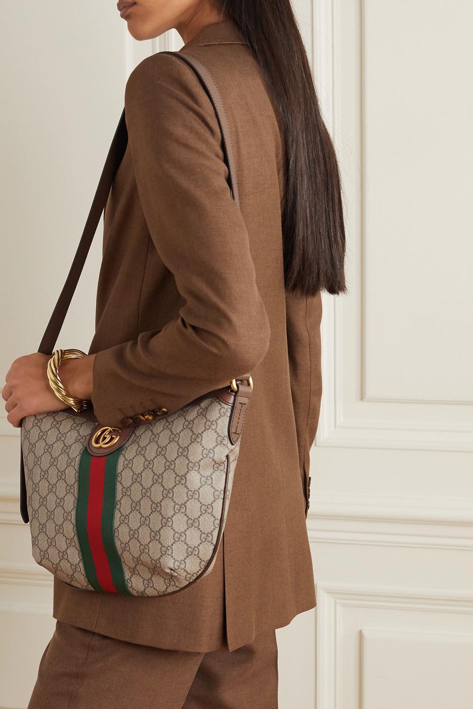 Gucci Ophidia 纹理皮革边饰印花涂层帆布单肩包