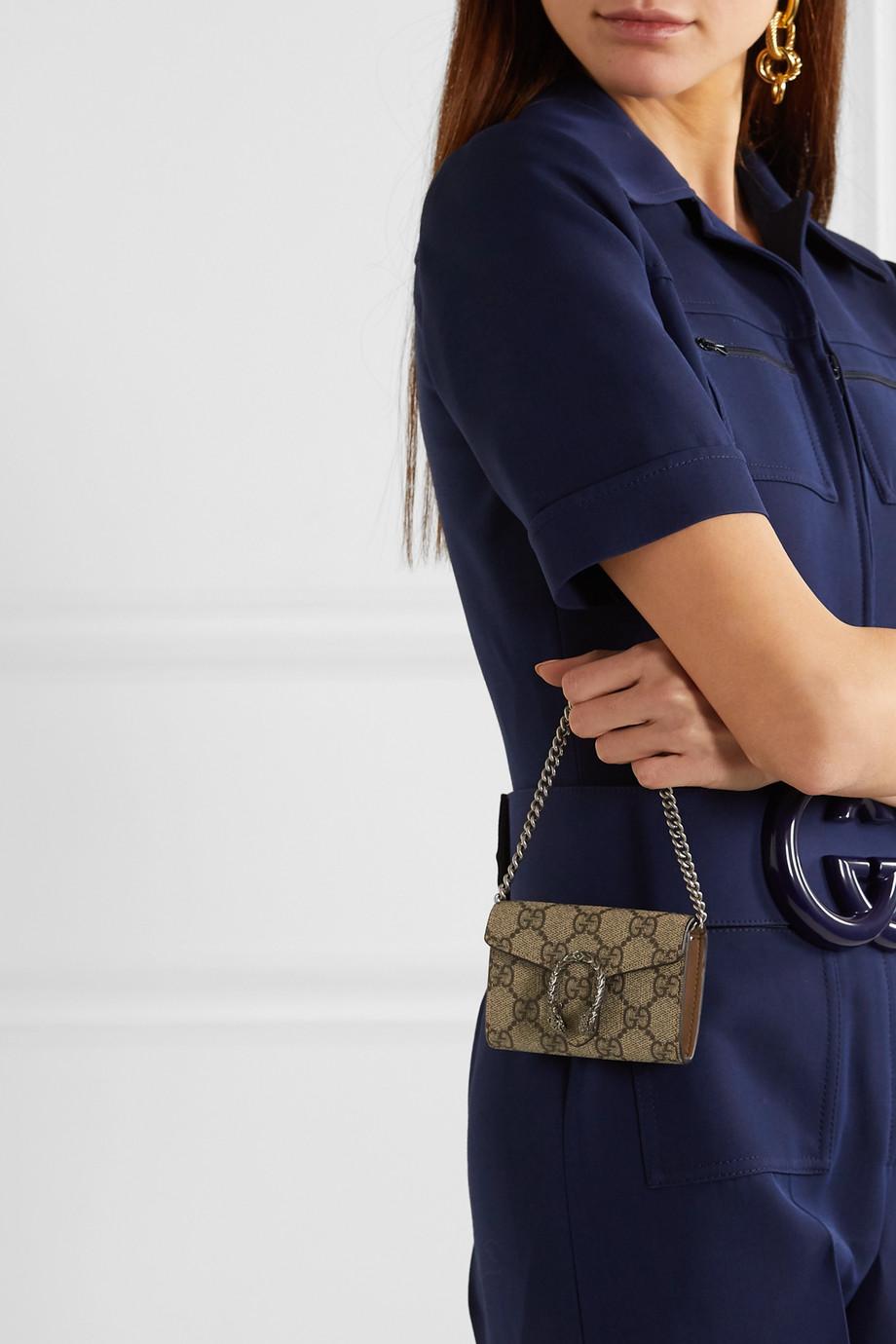 Gucci Dionysus 印花涂层帆布皮革超迷你单肩包