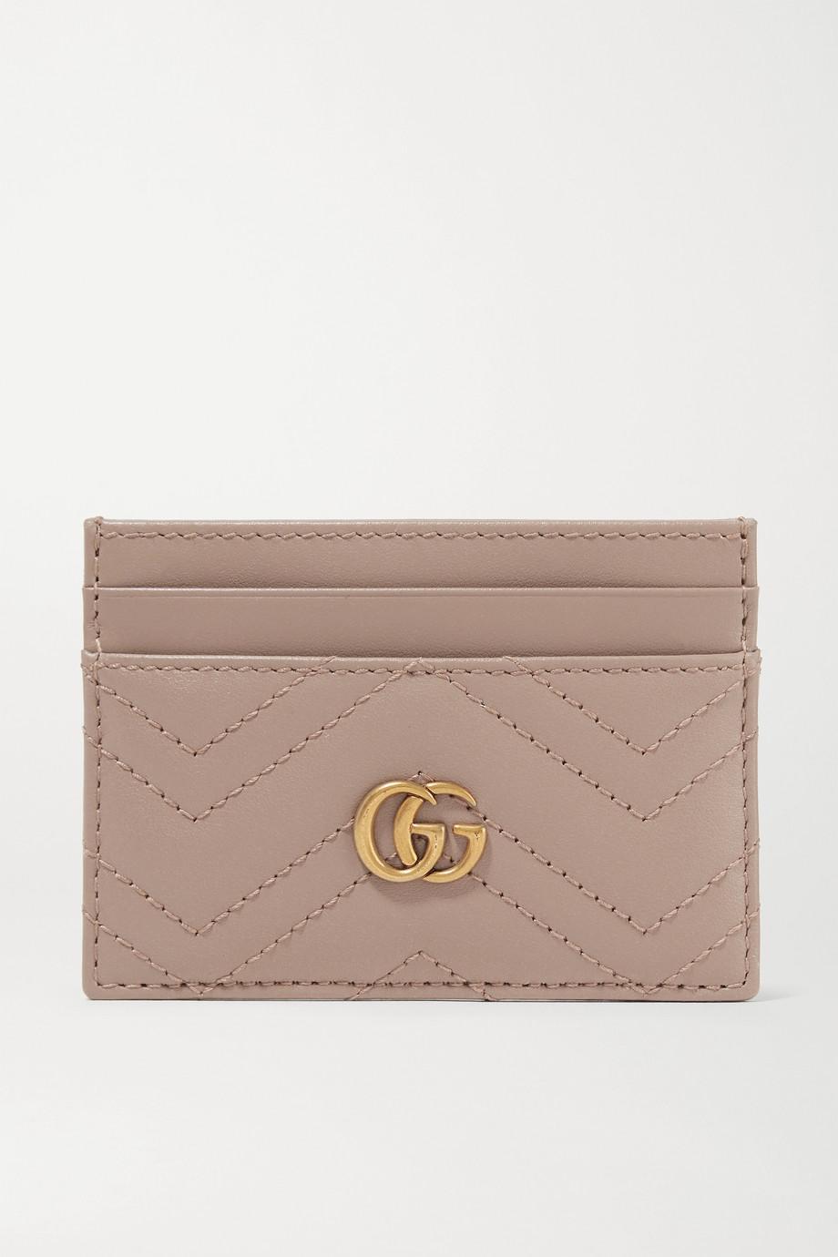 Gucci Porte-cartes en cuir matelassé GG Marmont