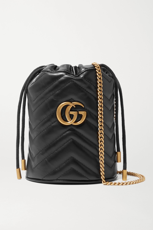 Gucci Sac seau en cuir matelassé GG Marmont Mini