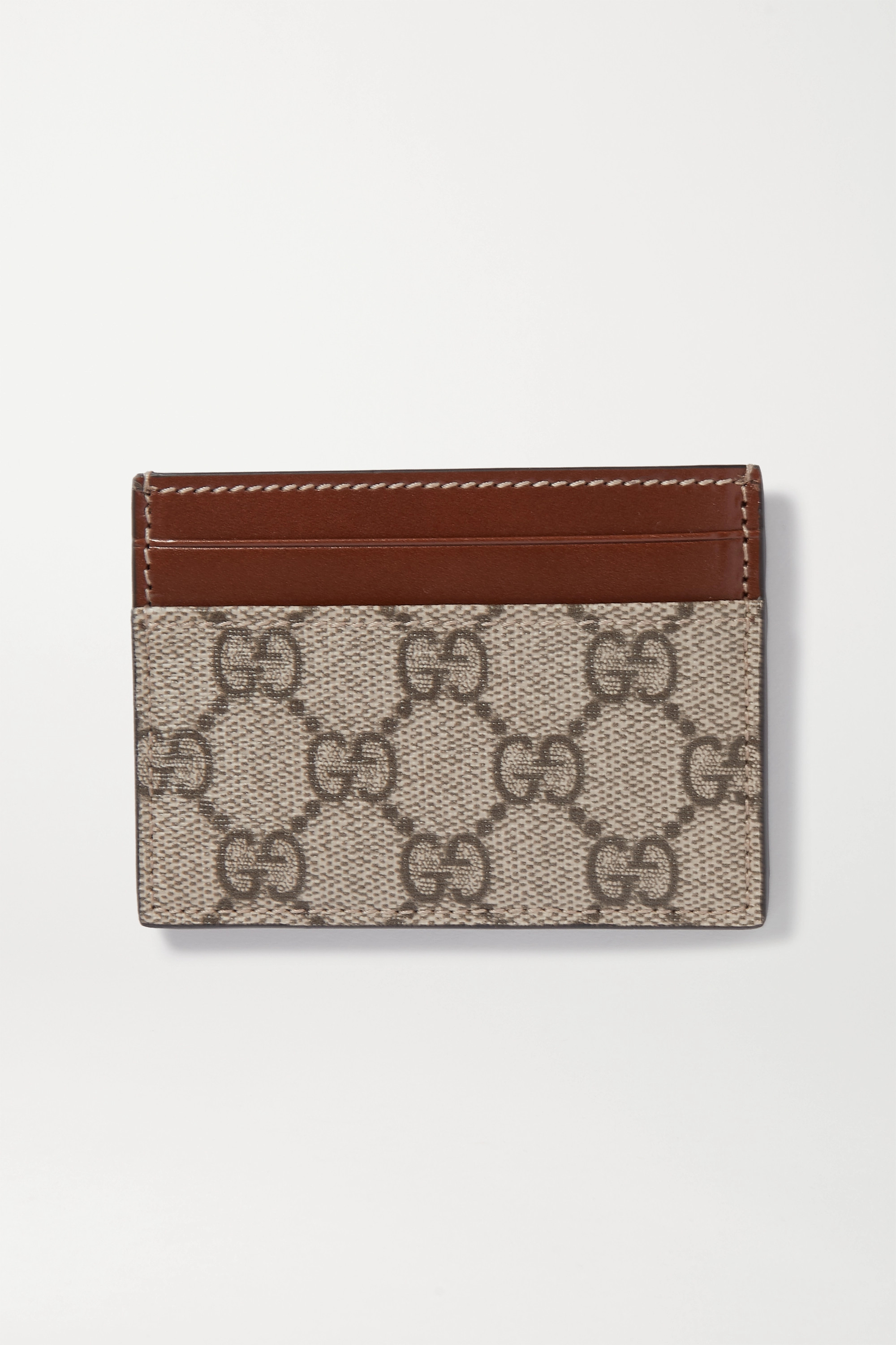Gucci Linea leather-trimmed printed coated-canvas cardholder