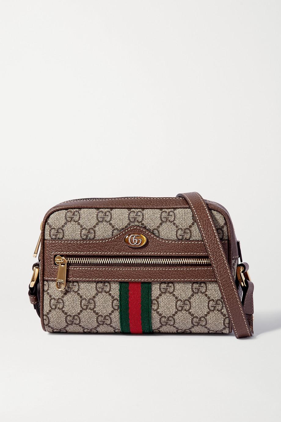 Gucci Ophidia 皮革边饰印花涂层帆布小号相机包