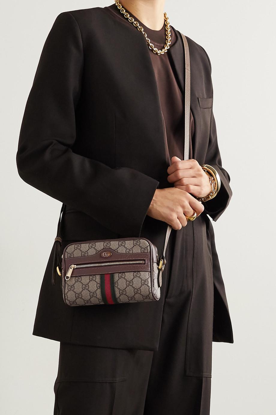 Gucci Ophidia kleine Kameratasche aus beschichtetem Canvas mit Print und Lederbesätzen