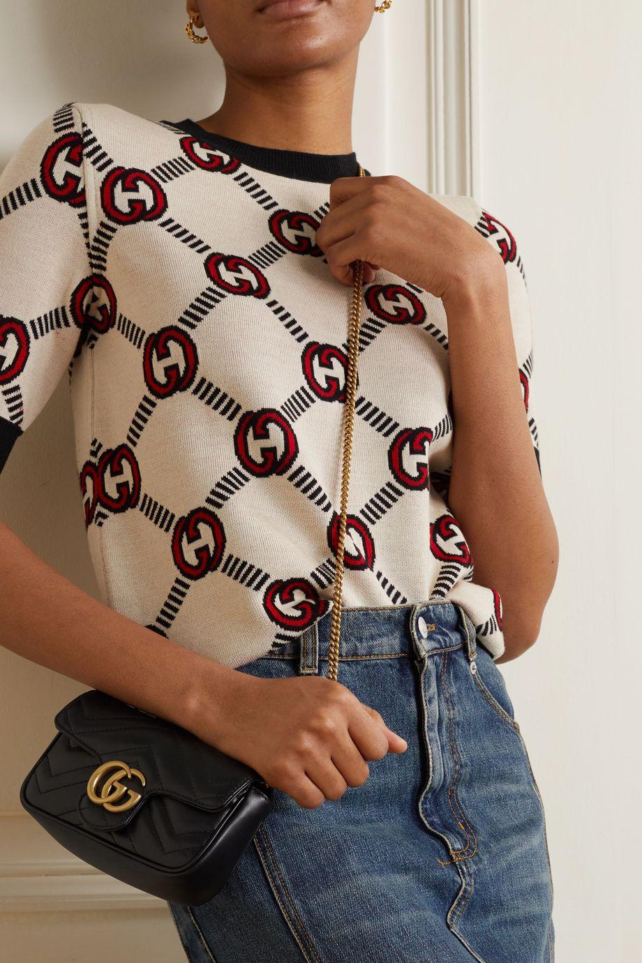 Gucci Sac porté épaule en cuir matelassé GG Marmont Super Mini