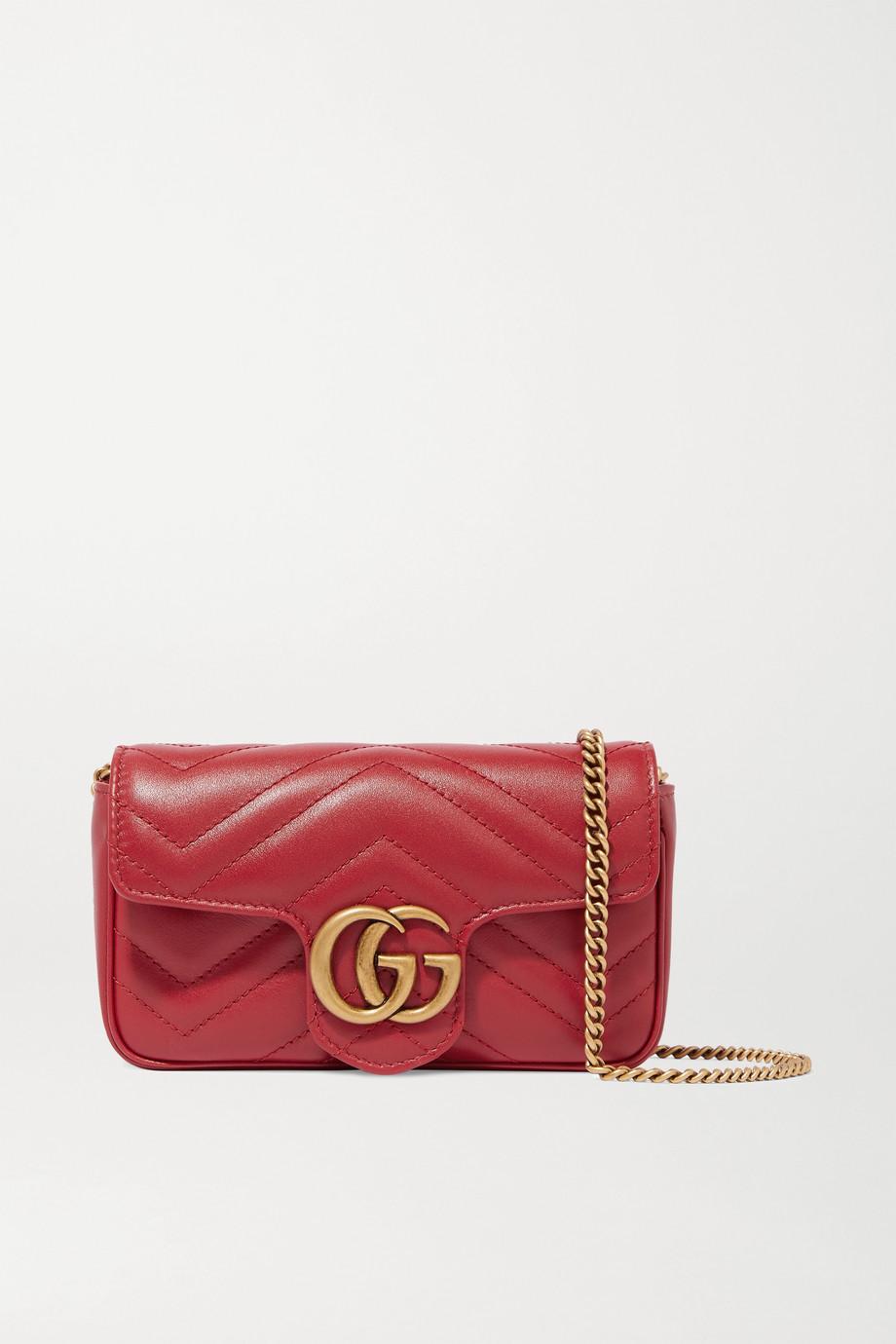 Gucci GG Marmont 绗缝皮革超迷你单肩包