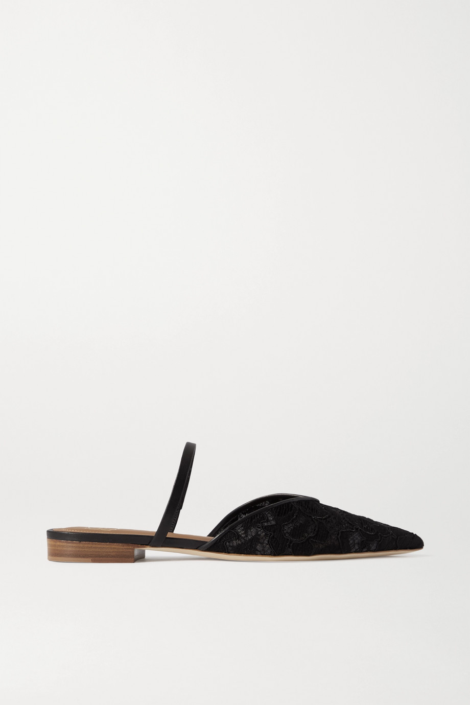 Malone Souliers Marla leather-trimmed corded lace point-toe flats