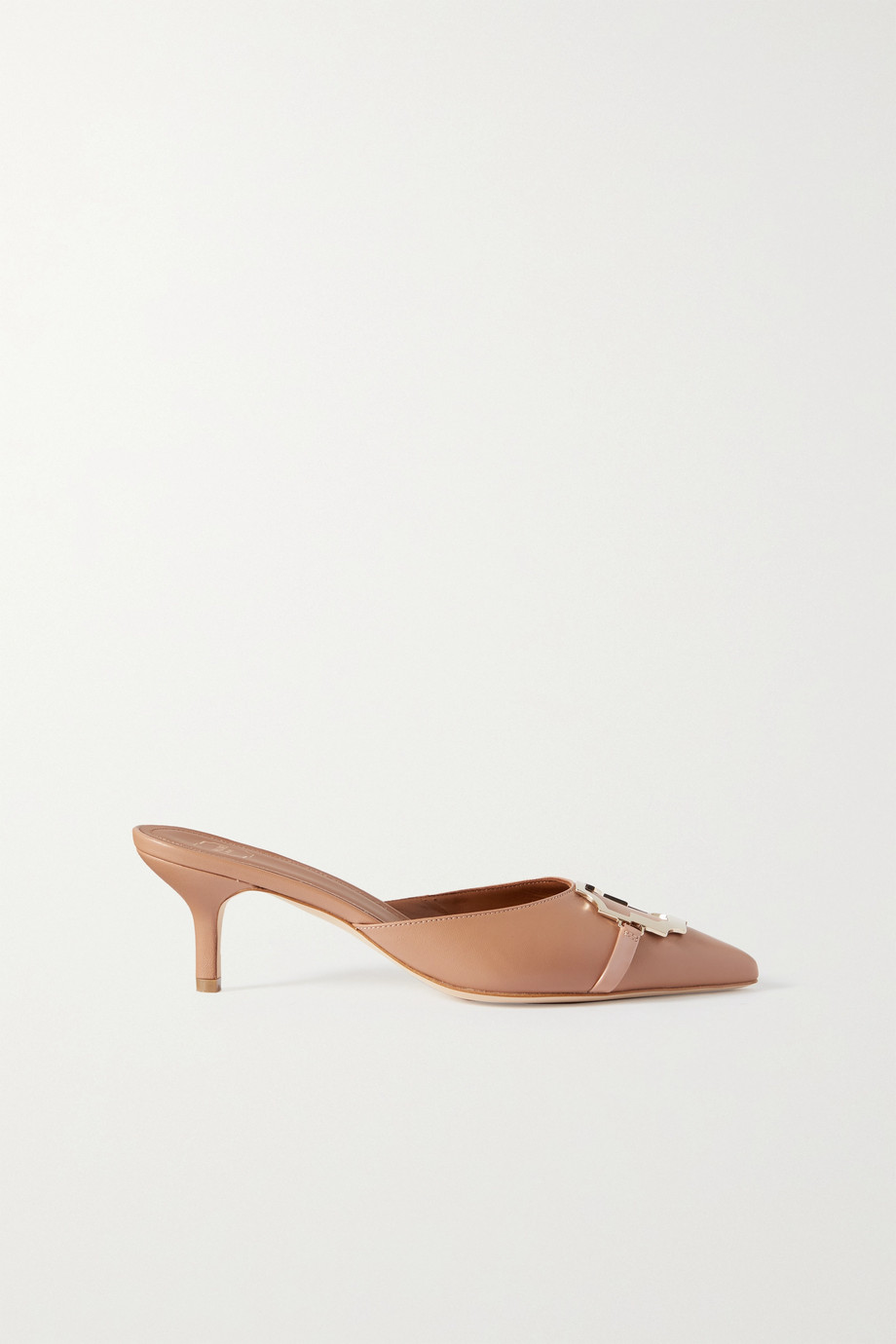 Malone Souliers Missy 45 embellished patent-trimmed leather mules