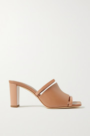 Malone Souliers Demi 70 cutout patent-trimmed leather mules