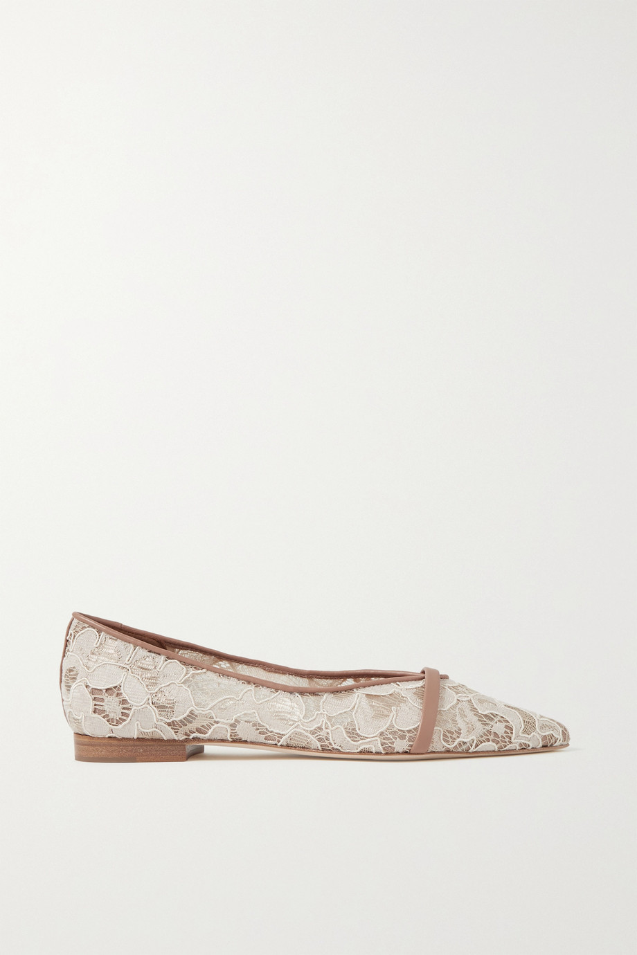 Malone Souliers Colette leather-trimmed corded lace point-toe flats