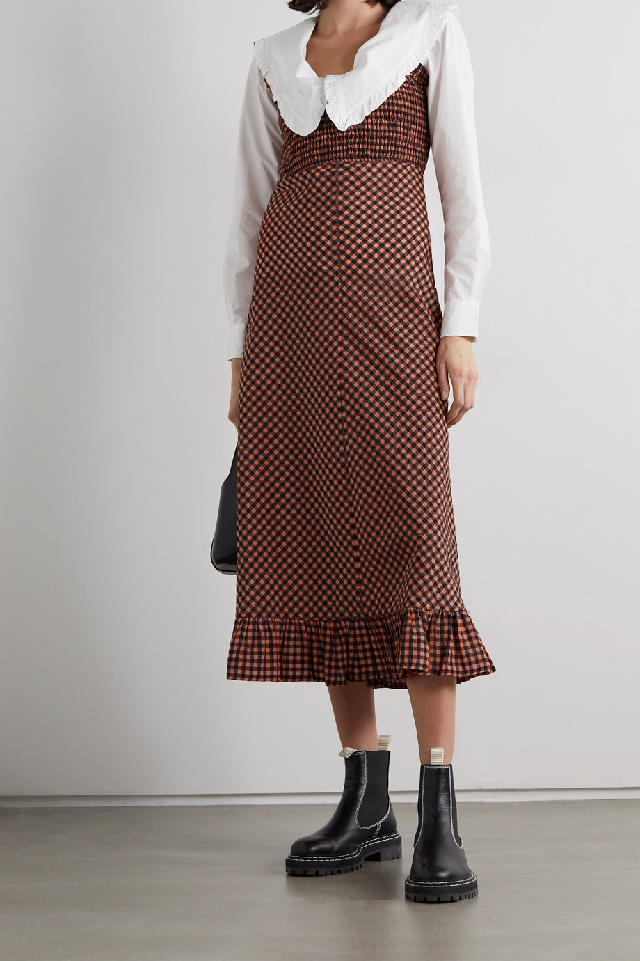 GANNI 荷叶边皱褶装饰方格泡泡纱中长连衣裙