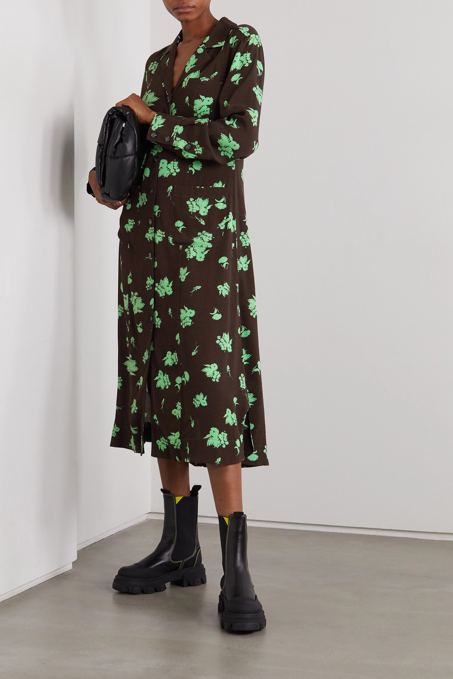 GANNI + NET SUSTAIN Midi-Hemdblusenkleid aus Crêpe mit Blumenprint