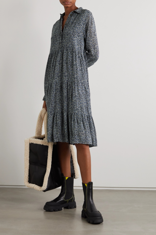 GANNI Gestuftes Midi-Hemdblusenkleid aus Georgette mit Blumenprint