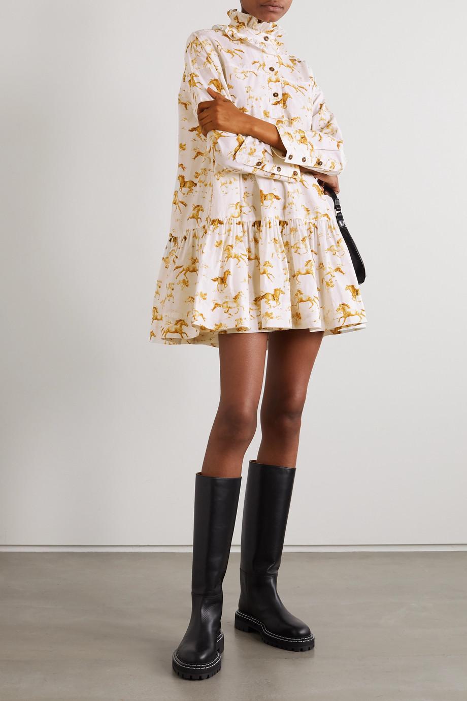 GANNI + NET SUSTAIN printed organic cotton-poplin mini dress