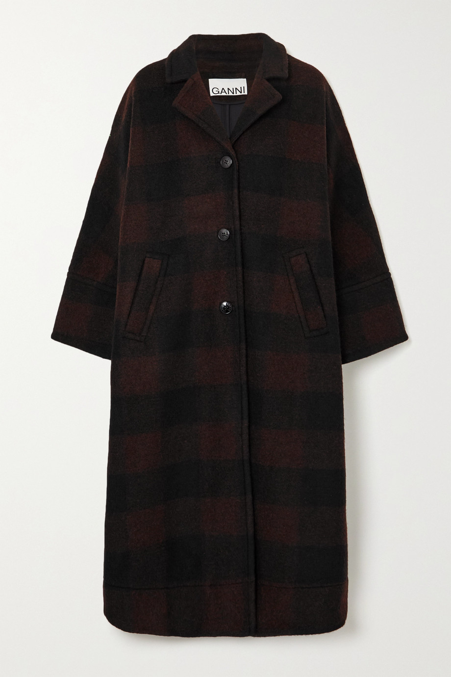 GANNI Checked wool-blend coat