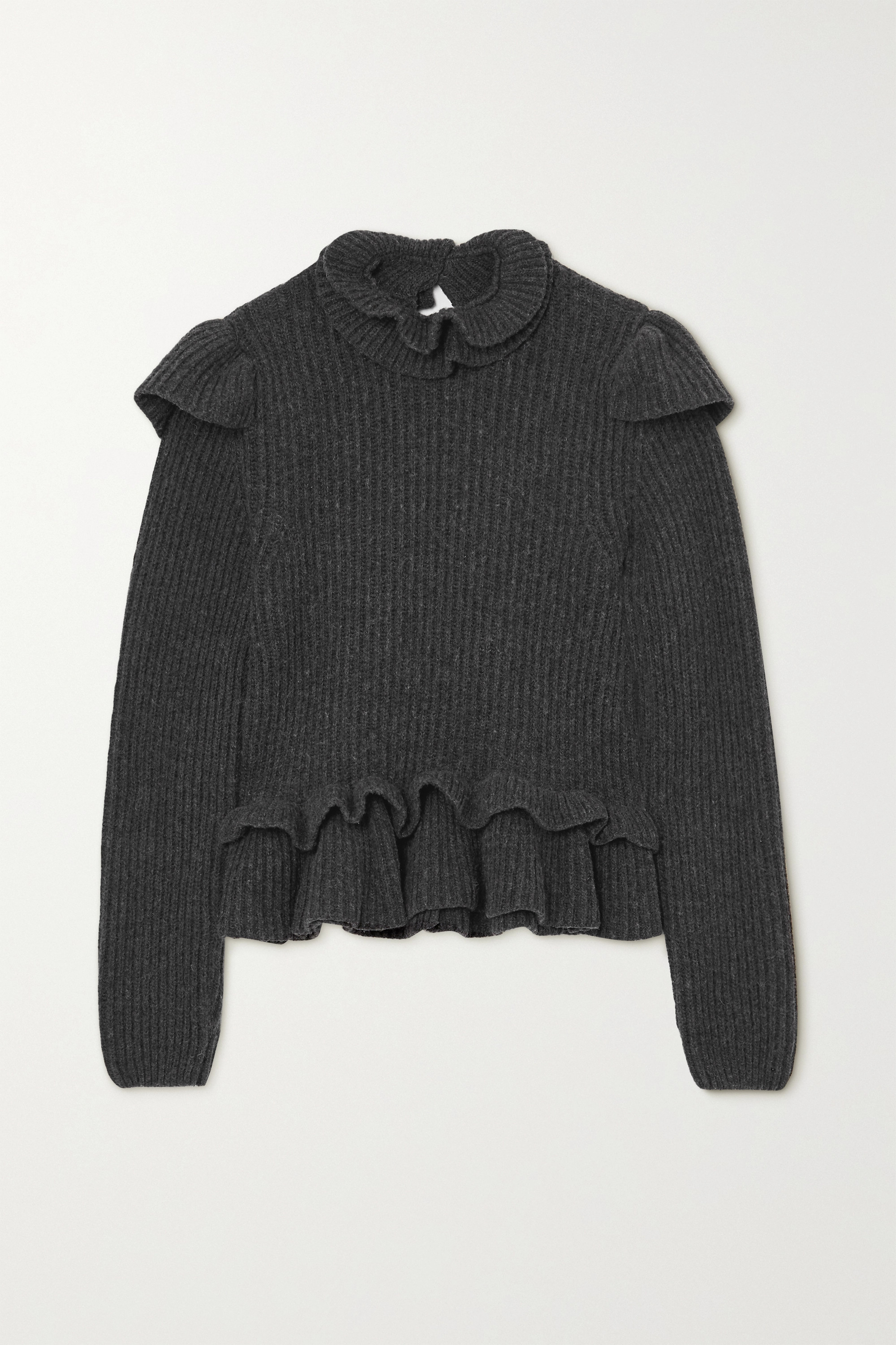 GANNI Open-back ruffled ribbed wool-blend sweater