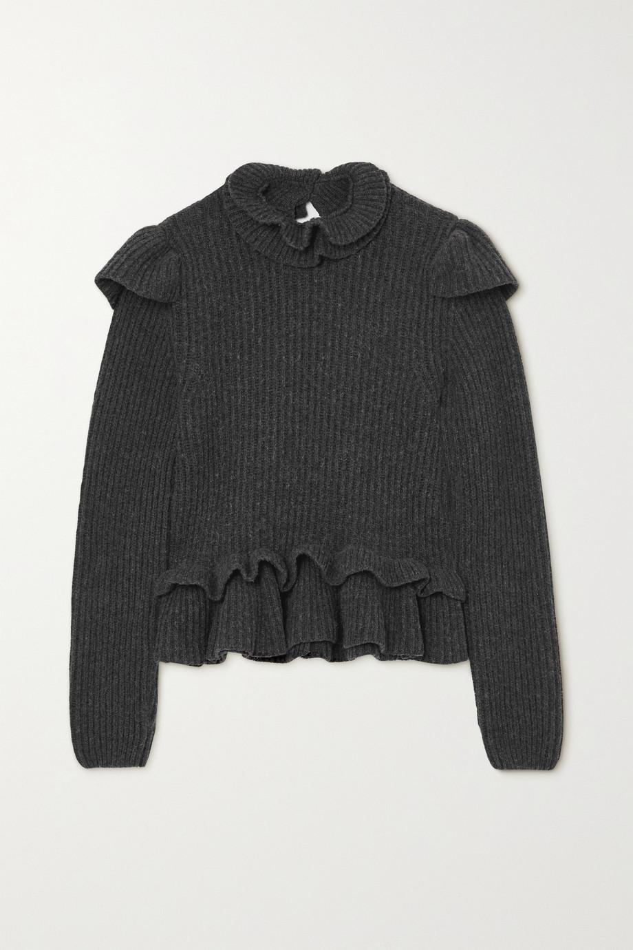 GANNI 露背荷叶边罗纹羊毛混纺毛衣