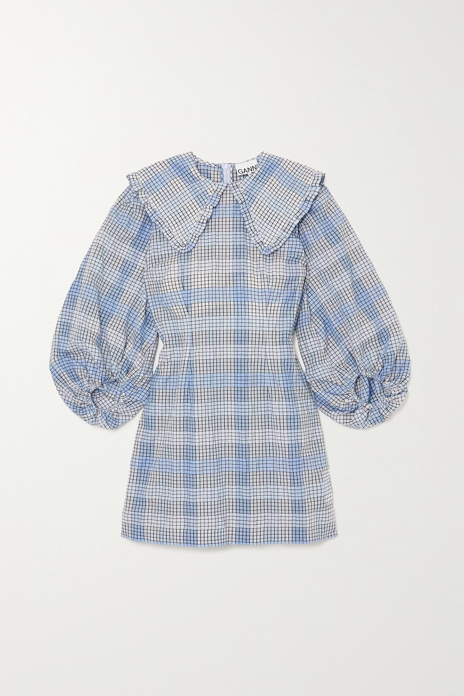 GANNI Checked seersucker mini dress