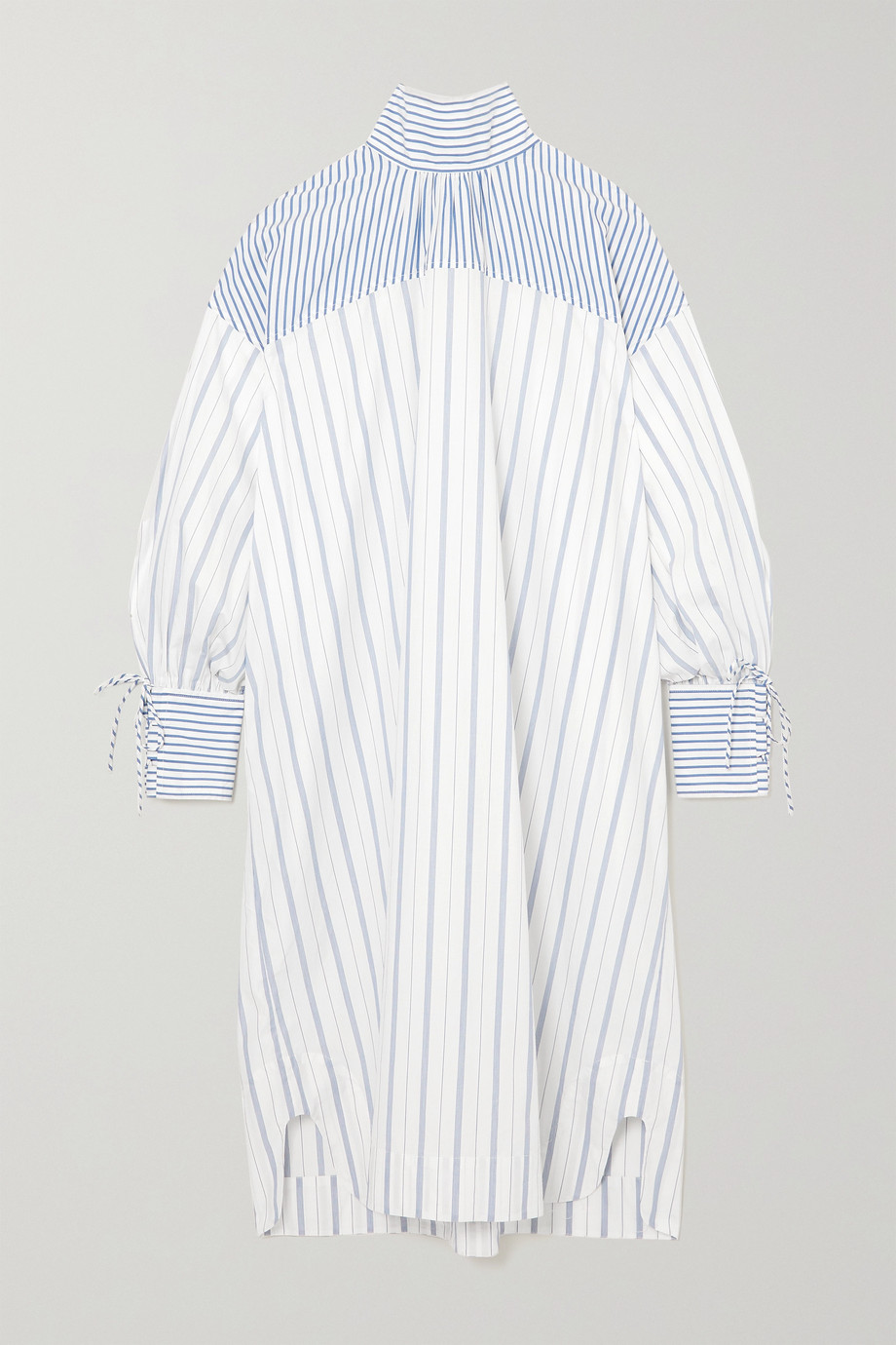 GANNI 【NET SUSTAIN】系带细节条纹有机纯棉府绸连衣裙