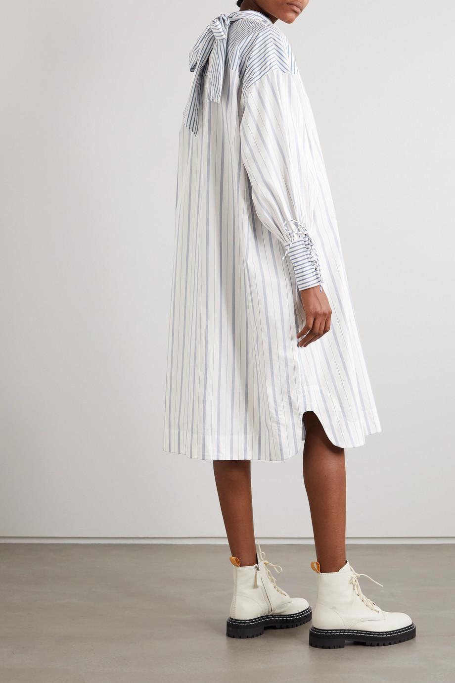 GANNI + NET SUSTAIN tie-detailed striped organic cotton-poplin dress