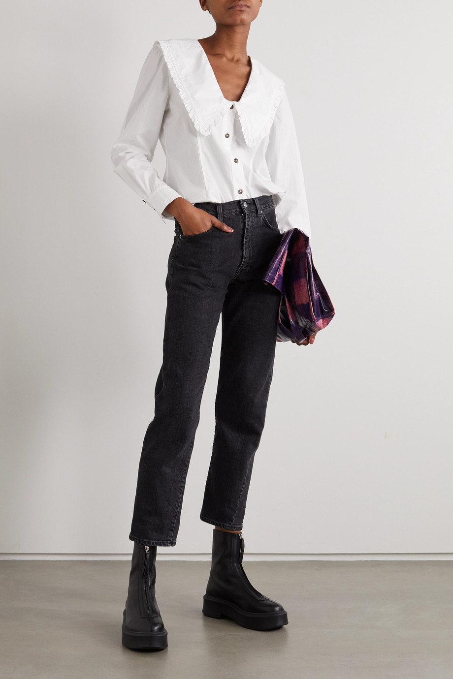 GANNI + NET SUSTAIN ruffled organic cotton-poplin shirt