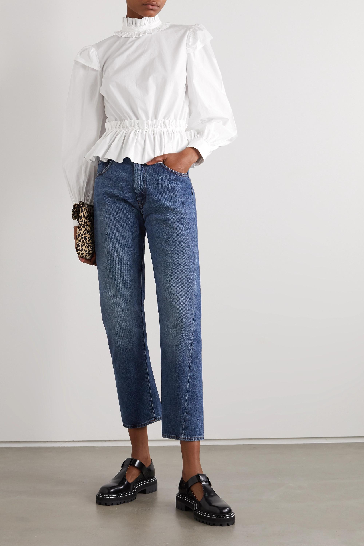 GANNI + NET SUSTAIN ruffled organic cotton-poplin peplum blouse