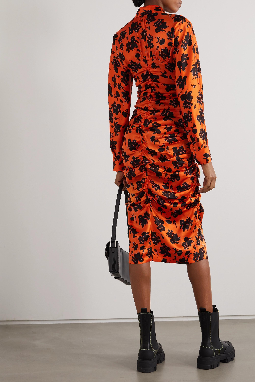 GANNI Ruched floral-print silk-blend satin midi shirt dress