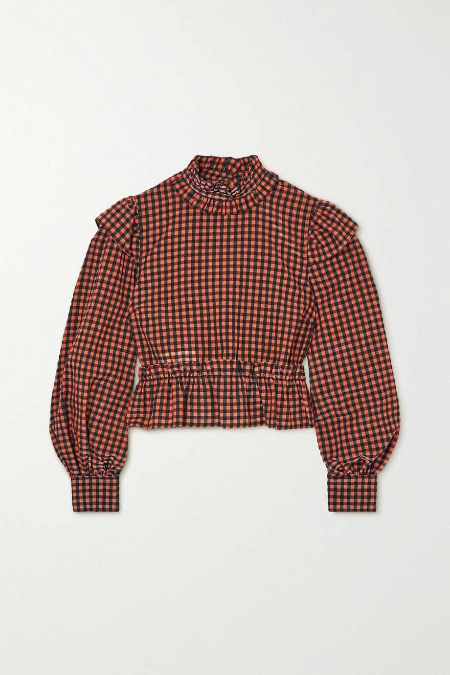 GANNI Ruffled gingham seersucker blouse
