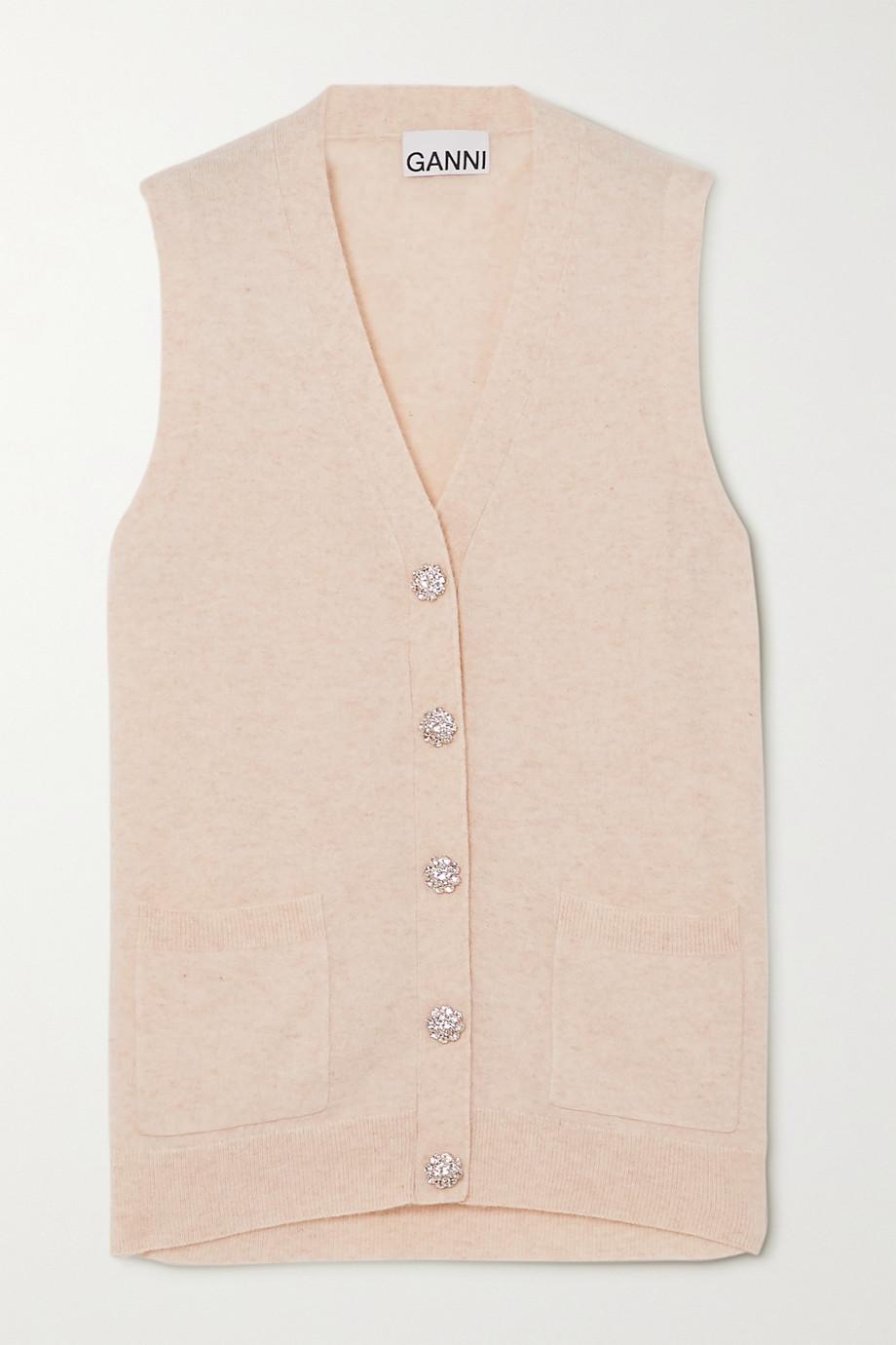 GANNI Crystal-embellished cashmere vest