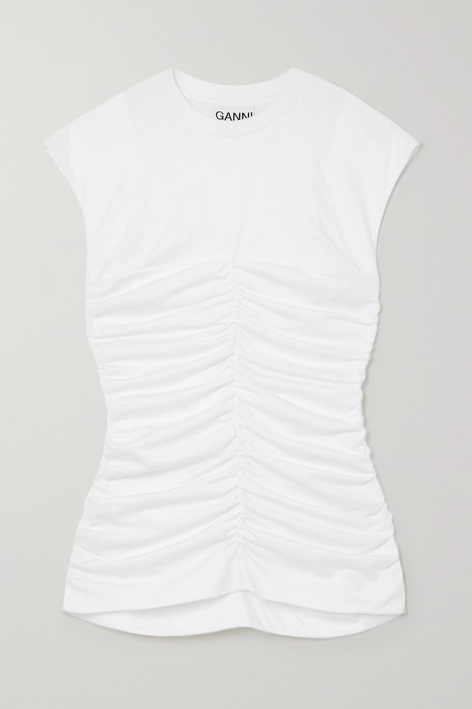 GANNI 【NET SUSTAIN】褶饰有机纯棉平纹布上衣